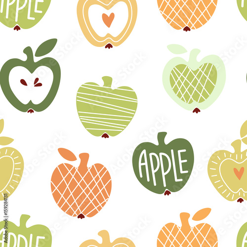 Vector seamless pattern with abstract cute apples - 159284131