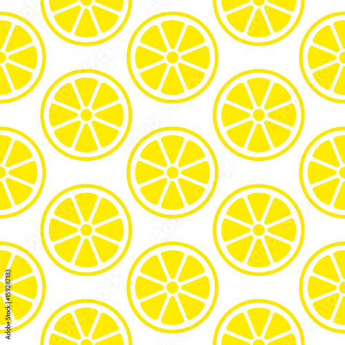 Slices Lemons Seamless Pattern Retro Yellow/White - 159287183