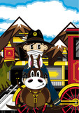 Cartoon Cowboy on Horse with Train