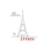 Eiffel tower flat design with text shadow silhouette