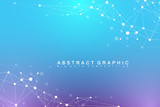 Geometric abstract background with connected line and dots. Network and connection background for your presentation. Graphic polygonal background. Scientific vector illustration. - 159293363