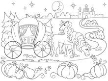 Cinderella Fairy Tale Coloring Book For Children Cartoon  Illustration Sticker