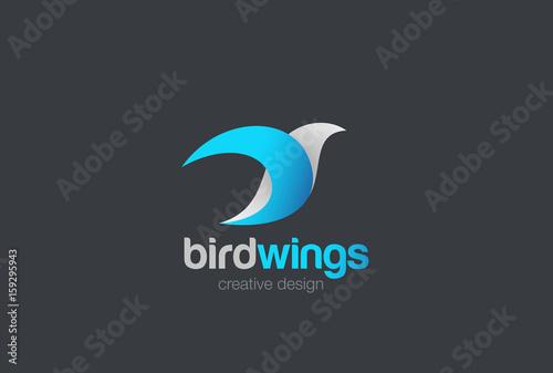 Flying Bird abstract Logo vector Dove Pigeon Falcon Eagle icon