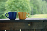A beautiful cup with hot tea stands in front of a beautiful scenery