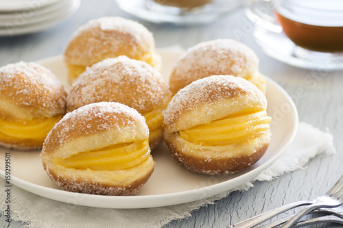 Bolas de Berlim (Berliner Balls), a Portuguese Fried Pastry with Ovos Doces Poster