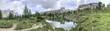 Quadro Panoramic view of lake and mountains, Italian Alps