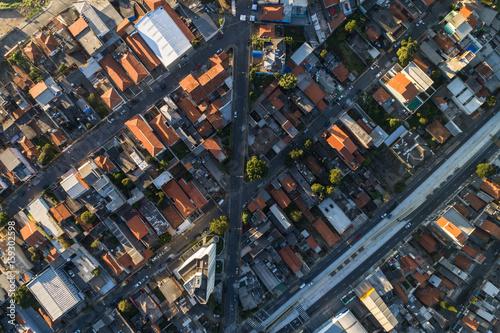 Top View of Suburban Neighborhood in Sao Paulo, Brazil
