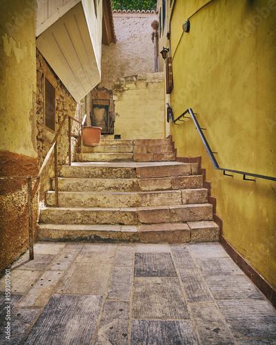 Greece, Hydra island, picturesque alley stairway