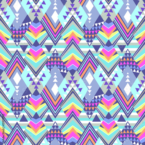 colorful tribal geo shapes - seamless background