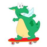 A happy skateboard green dragon
