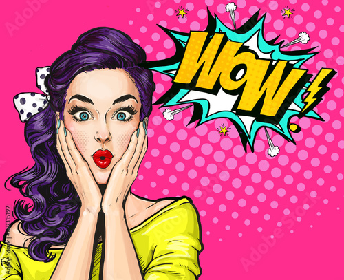 Pop Art illustration, surprised girl.Comic woman. Wow.Advertising poster. Pop Art girl. Party invitation.