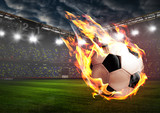 Soccer or football ball on fire at stadium - 159317952