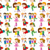 Seamless background design with many children