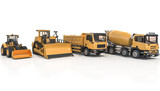 3d rendering of a cement mixer, truck, loader and bulldozer
