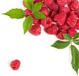 Group of red raspberry with leaf