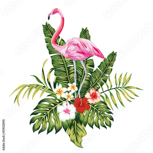 Composition of pink flamingo tropical leaves and flowers white background