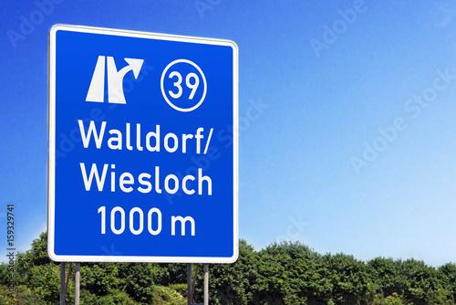 Poster Ausfahrt 39 Walldorf/Wiesloch auf BAB 5 in Richtung Heidelberg und Frankfurt (V