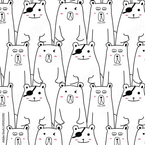Hand Drawn Cute Bear Vector Pattern. - 159333192