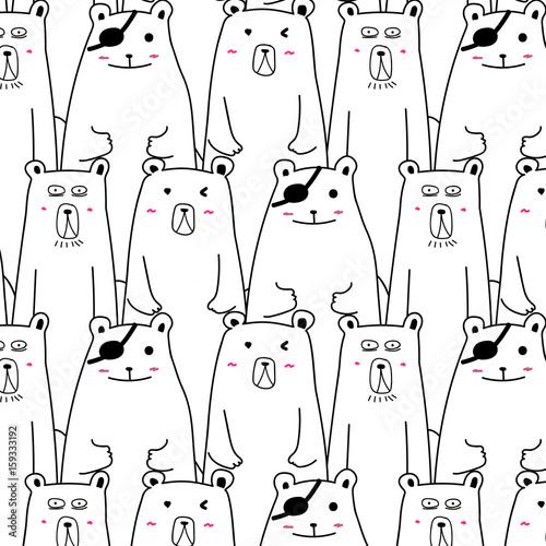 Hand Drawn Cute Bear Vector Pattern.