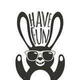 Vector illustration with stylish rabbit in sunglasses. Have Fun - lettering quote. - 159335783