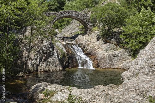 Alte Steinbrücke über ein Flüsschen in Südfrankreich