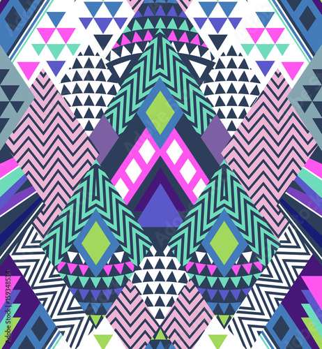 Cotton fabric abstract geo shapes in zigzag design - seamless background