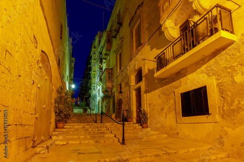 Valletta. Old medieval street at night.