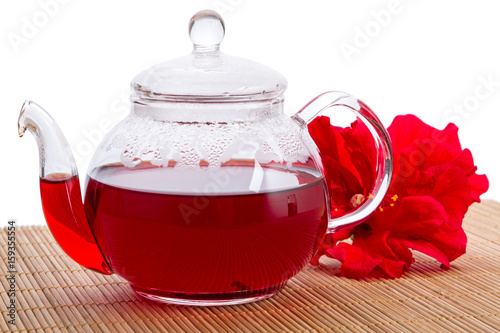Papiers peints The Teapot with hot tea and hibiscus flower