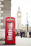 red telephone cabin in London city, Big Ben in background - 159356320