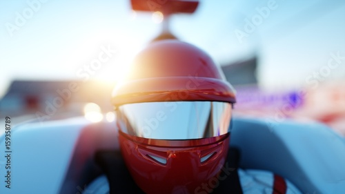 Foto Spatwand F1 Racer of formula 1 in a racing car. Race and motivation concept. Wonderfull sunset. 3d rendering.