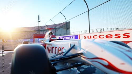 Deurstickers F1 Racer of formula 1 in a racing car. Race and motivation concept. Wonderfull sunset. 3d rendering.