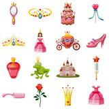 Princess fairytale doll icons set, cartoon style