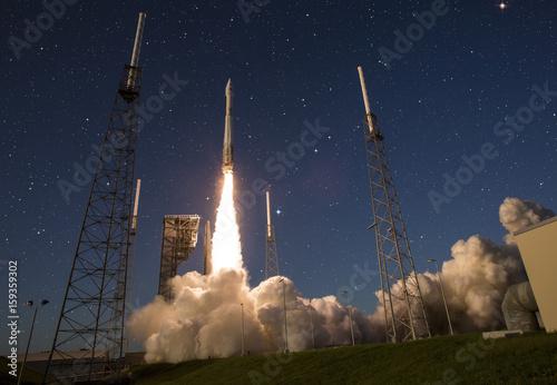 Fototapeta Spaceshatle launch rocket isolated
