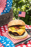 Fourth of July celebration with All American hamburger - 159360126