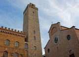 Architecture of San Gimignano, small medieval village of Tuscany in the province of Siena.