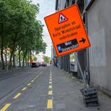 Road works in the center of  Antwerp resulting in heavy traffic disruptions.