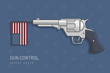 Handgun revolver firing flag of the United States of America. Gun control concept vector illustration.
