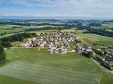 Aerial view of residential area in Swiss village