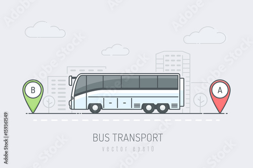 Bus on the city road driving on route labeled with A and B location markers. Vector illustration in line art color style © Zoran Milic