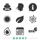 Spa stones icons. Water drop with leaf symbols.