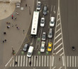 aerial view of traffic and cars in intersection