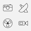 Hardware Icons Set. Collection Of Photographing, Ventilator, Video Camcorder And Other Elements. Also Includes Symbols Such As Ventilator, Video, Sputnik.