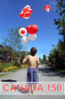 Canada day 150. Boy with Birthday balloons.
