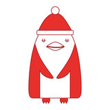 cute penguin with christmas hat vector illustration design