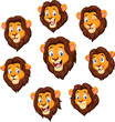 Cartoon lion head with various expression - 159396506