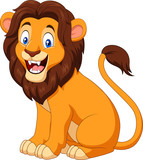 Cartoon happy lion sitting