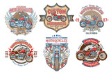 Fototapety Set vector color vintage badges, emblems with a custom motorcycle. Print, template, advertising design element for the motor club, motorcycle repair shop