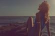 Girl enjoying the ocean.