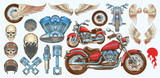 Fototapety Set vector color illustrations, icons of hand-drawn vintage motorcycle in various angles, skulls, wings in style of engraving. Classic chopper in ink style. Print, engraving, template, design element