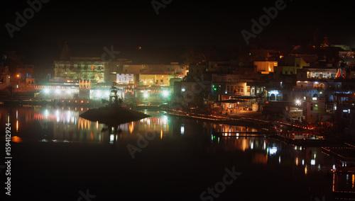 Sacred lake of Pushkar. Pushkar town at night, Rajasthan, India